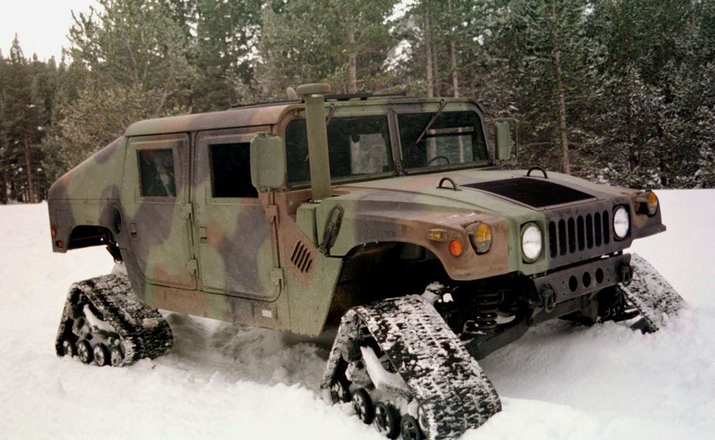 A Humvee with tracks