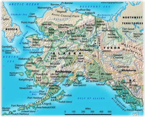 A map of Alaska, including major roads