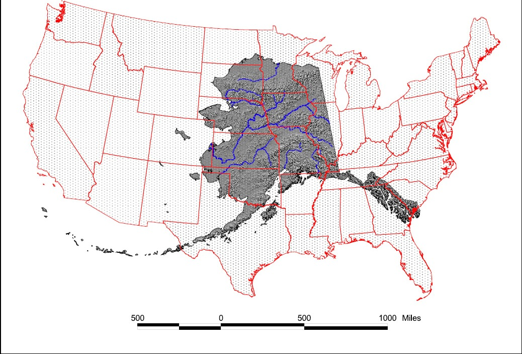 Size comparison of Alaska and the Lower 48