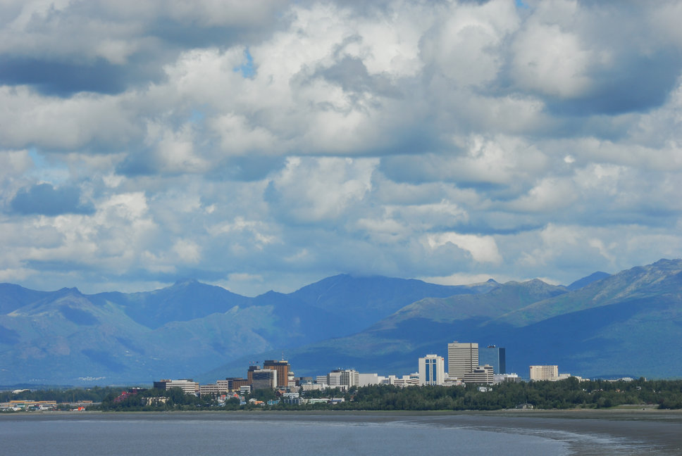 A view of downtown Anchorage over Knik Arm from Earthquake Park